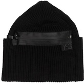Y-3 Ribbed-knit Zipped Beanie Hat