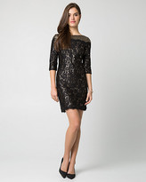 Le Château Sequin Boat-neck Mini Dress