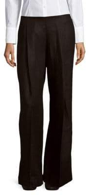 Lafayette 148 New York Pleated Wide-Legged Linen Pants