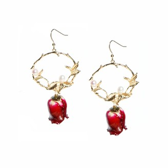 I'mmany London Real Flower Grande Amore Red Rose Drop Earrings