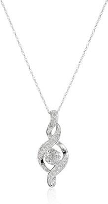 "Amazon Collection 10K White Gold Diamond Twist Pendant Necklace (1/4 cttw) 18"""