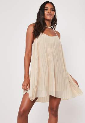 Missguided Nude Strappy Pleated Mini Dress