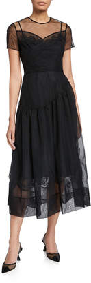 Simone Rocha Tulle Short-Sleeve Tea-Length Dress