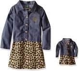Dollie & Me Little Girls' Knit Leopard Print Skater Dress with Jacket
