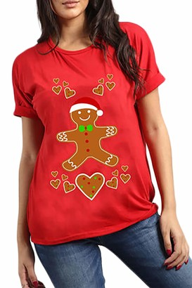 Fashion Star Womens Oversized Oh Deer Baggy Xmas T Shirt Top Snowman Tree Red M/L (UK 12/14)