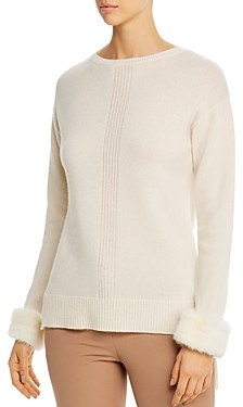 Max & Moi Blanco Mink-Fur Trimmed Merino-Wool & Cashmere Sweater