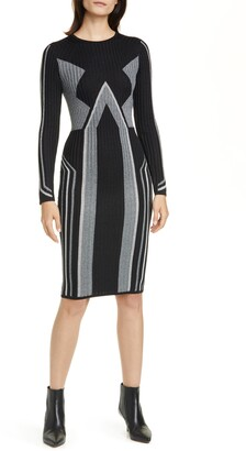 Ted Baker Hesiaa Geometric Long Sleeve Bodycon Dress