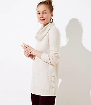 LOFT Petite Side Button Cowl Tunic Sweater