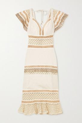 PatBO Ruffled Broderie Anglaise Cotton Midi Dress - Ecru