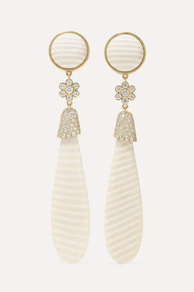 Guita M - 18-karat White Gold, Chalcedony And Diamond Earrings - one size
