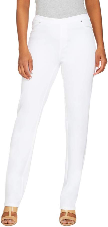 Halston H By H by Petite Studio Stretch Straight Leg Pull-on Pants