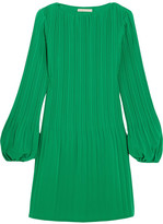 Maje Pleated Crepe Mini Dress - Forest green