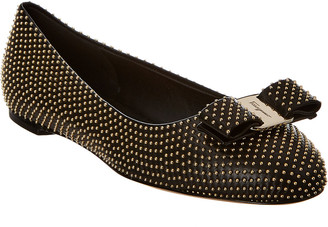 Salvatore Ferragamo Varina Studded Leather Ballet Flat