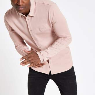River Island Mens Pink R96 muscle fit button-down shirt