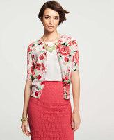 Ann Taylor Floral Print Crew Neck Short Sleeve Cardigan