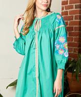 Simply Boho La Simply Boho LA Women's Casual Dresses GREEN - Green Floral Embroidered Tie-Neck Peasant Dress - Women