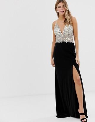 Jovani cami strap maxi dress with embellished upper and side split