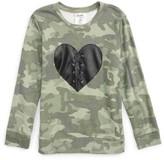 Flowers by Zoe Girl's Lace-Up Heart Camo Sweatshirt