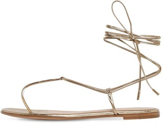 Gianvito Rossi 10mm Metallic Leather Thong Sandals