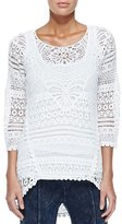 XCVI Delaney Crochet 3/4-Sleeve Top, White, Plus Size