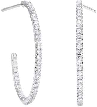De Beers Medium White Gold and Micropave Diamond Hoop Earrings