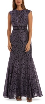 Night Way Nightway Petite Glitter Lace Gown