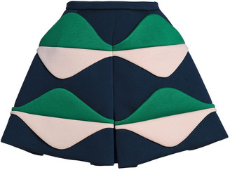 DELPOZO Paneled Color-block Neoprene Mini Skirt