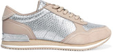 DKNY Jamie metallic snake-effect leather and suede sneakers