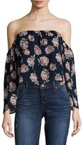 Lucca Couture Floral Print Off Shoulder Crop Top