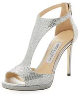 Jimmy Choo Lana 100mm Glitter T-Strap Sandal