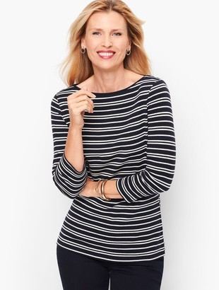 Talbots Cotton Bateau Neck Tee - Double Stripe