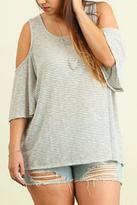 Umgee USA Open Shoulder Striped Top
