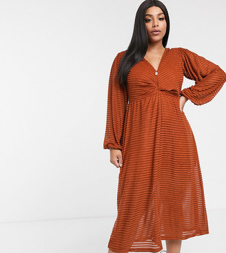 Asos DESIGN Curve long sleeve burnout stripe midi dress