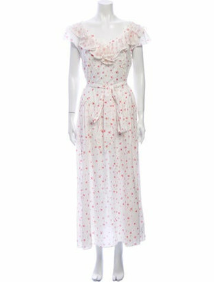 LoveShackFancy Floral Print Long Dress w/ Tags White