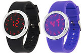QVC As Is Set of 2 Silicone Watches with Hidden LED Display
