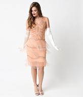 Unique Vintage Peach & Gold Beaded Gigi Chiffon Fringe Flapper Dress