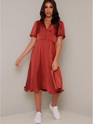 Chi Chi London Jaslene Dress - Rust