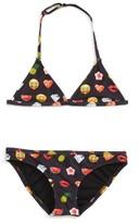 Eleven Paris Girl's Little Elevenparis Emoji Print Two-Piece Swimsuit