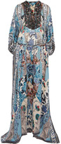 Roberto Cavalli Lace-up Bead-embellished Printed Silk-georgette Maxi Dress - Blue