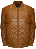 Franchise Club Men's Franchise Club Double Diamond Quilted Lambskin Leather Bomber Jacket