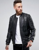 Asos Leather Bomber Jacket With Strap Detail In Black