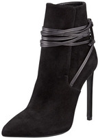 Saint Laurent Point-Toe Leather-Wrap Suede Ankle Boot, Black
