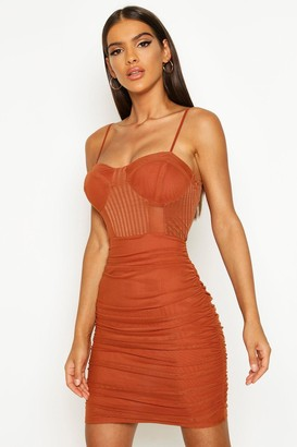 boohoo Mesh Ruched Mini Dress