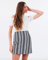 Warehouse Link Jacquard Belted Skirt