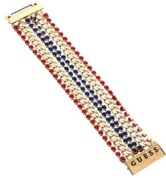 GUESS Multi Row Colored Stone and Chain Magnetic Close Bracelet (Gold/Blue/Red) Bracelet