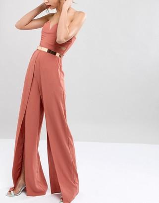 ASOS DESIGN skinny full metal rose gold waist belt