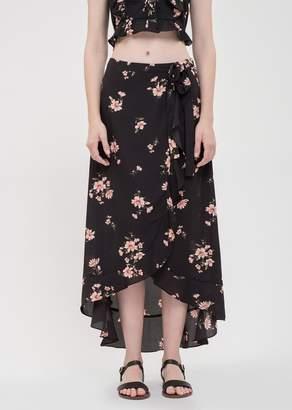 Blu Pepper Front Tie Floral Wrap Maxi Skirt