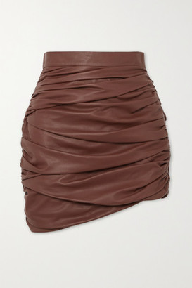 ZEYNEP ARCAY Ruched Leather Mini Skirt - Brown