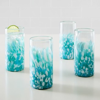 west elm Mexican Confetti Highball Glasses - Blue (Set of 4)