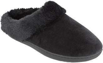 Isotoner Women's Velour Faux Fur-Trim Hoodback Slippers